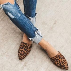Leopard Print Pointy Toe Mules